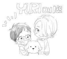 Chibi Viktor Nikiforov and Chibi Katsuki Yuri with Kawaii Maccachin - Yuri! On Ice Anime Kawaii, Anime Chibi, Manga Anime, Katsuki Yuri, ユーリ!!! On Ice, Ariel The Little Mermaid, Anime Sketch, Happy Fun, Yuri On Ice