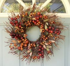 Fall Wreath - Rustic Berry Wreath - Primitive Wreath - Fall Door Wreath