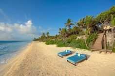 Playa Sian Kaan Tulum, Thatched Roof, Quintana Roo, Riviera Maya, Running Away, Outdoor Furniture, Outdoor Decor, Sun Lounger, Lush