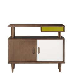 Orla Kiely: Stained walnut, solid and veneered console table. A modern take on the 50's design with Orla's signature colors. Fully assembled.    For more information please contact our Mercer Street store directly.