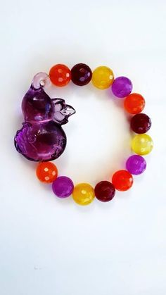 Gourd Amethyst Crystal with Multi Color Agate Bracelet | For Longevity and Protection