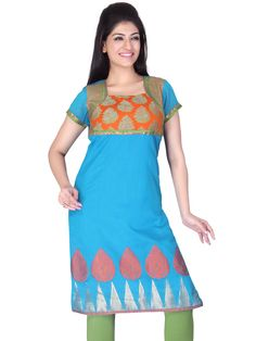 A very #stylish #traditional #kurta in bright turquoise #chanderi #silk having a big woven border. The coti look on the yoke makes it trendy. #DesignsByKavitaS by #LifestyleRetail