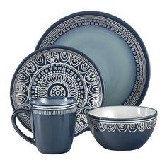 Mistana Jayda 16 Piece Dinnerware Set, Service for 4 Colour: Teal Blue Dinnerware Sets, Stoneware Dinnerware Sets, Casual Dinnerware, Porcelain Dinnerware, Dinnerware Ideas, Bleu Indigo, Dessert Bowls, Dish Sets, Motif Floral