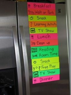 Awesome! Summer daily 'schedules.' Keeps the kids on a routine guarantees you get a little 'time to yourself' everyday. If you made/bought dry erase strips changing the list would be SO easy.