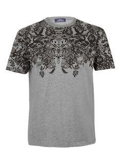 Grey Paisley Crew T-Shirt - Men's T-shirts  - Clothing