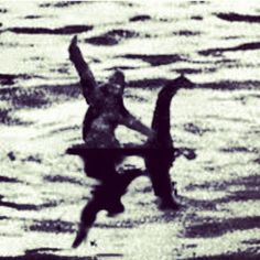 lol. Bigfoot rides the Loch Ness monster.        ✯ ♥ ✯ ♥  click the pin to watch the 5 minute video at http://snow.energy401k.com✯ ♥ ✯ ♥  image credit:    http://ink361.com