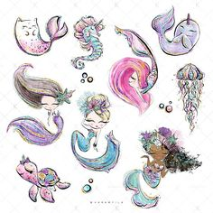 Mermaid Unicorn Clipart, Underwater Clipart, Cute Ocean Animals, Cat-Fish Whale Seahorse Mermaid Planner Stickers, Purple Teal Glitter ECLP - for planner stickers, covers and dashboards, planner clips, blog or web design, POD designs, patterns for paper or fabrics, printing over any