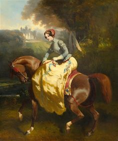 Artwork by Alfred de Dreux, A female equestrian with a castle beyond, Made of Oil on canvas Vintage Horse, Old Paintings, Female Art, Classic Art, Art, Artwork, Horse Painting, Horse Silhouette, Character Art