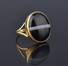 Victorian 15K Gold Banded Agate Cabochon Ring #Agate #Gold #Band #Simple #Ring #Victorian #Black #Citrine #Boho #Forget