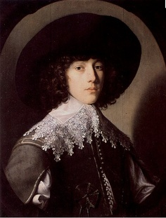 The Young PrinceRupert by Gerrit van Honthorst in 1635. In a doublet and FALLING BAND. [Cavalier/ Early Baroque]