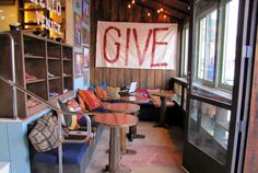 visual store element promoting giving message