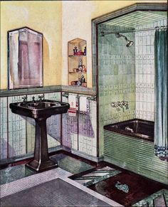 See all our stylish art deco bathrooms design ideas. Art Deco inspired black and white design. Art Deco Bathroom, Bathroom Colors, Colorful Bathroom, Bathroom Ideas, Moleskine, Muebles Art Deco, Deco Retro, Vintage Bathrooms, 1930s Bathroom