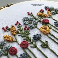 Wildflowers Embroidery Hoop Art Hand Embroidered Wildflower Hoop Art by And Other Adventures Embroidery Co Floral Embroidery Patterns, Embroidery Stitches Tutorial, Embroidery Flowers Pattern, Simple Embroidery, Embroidery Hoop Art, Hand Embroidery Designs, Pillow Embroidery, Embroidery Letters, Machine Embroidery Patterns