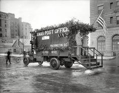 Vintage Christmas Photograph ~ Washington, D.C. Christmas Post Office Truck ©1919
