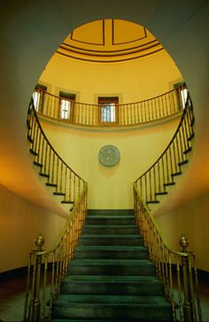 The staircase in the Custom House, Savannah, Georgia. When I was in grade school a man from the customs building spoke to our class. I'll never forget the book he had that was carved out for a gun or him showing us how people smuggle in diamonds in their toothpaste.