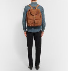 SAINT LAURENT | Leather-Trimmed Suede Backpack - £1,140