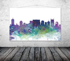 Nashville City Skyline Nashville Art Print by TheWildlands on Etsy