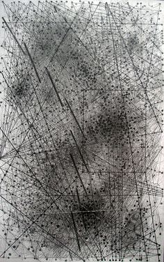 """S5, 2008, Emma McNally. A cartographic conjecture of imaginary paths, trajectories and psychogeographic boundaries of possible journeys. Emergent systems and experimental musical notations are coalescent in the space planes of Emma McNally's drawing. """"I feel like I'm forging land formations when I use it, or scattering particles, or spiraling vortices of smoke and water"""", she writes."""