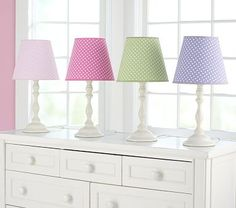 the dark pink lamp shade might work in the nursery with the hobnail lamp