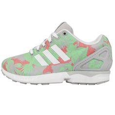 Adidas-Originals-ZX-Flux-W-Grey-Green-Floral-Print-Womens-Sneakers-Running-Shoes