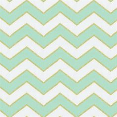 Mint and Gold Chevron Fabric by the Yard | Gold Fabric | Carousel Designs
