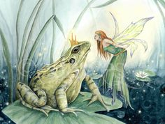 The Fairy and the Frog 8x10 Art Print by EmmaDawesArt on Etsy