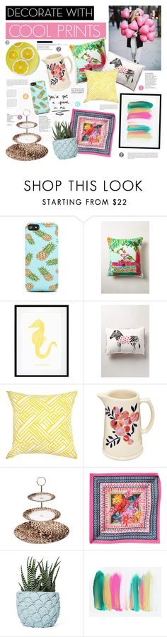 """""""Decorate with Cool Prints"""" by electric-bird ❤ liked on Polyvore featuring interior, interiors, interior design, home, home decor, interior decorating, Ashley Longshore, Eleanor Stuart, Lauren Carlson Walcott and Bandhini Homewear Design"""
