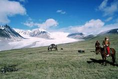 Approaching Mt Khuiten and Basecamp, Western Mongolia