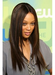 Tyra Banks Long Silky Straight Dark Brown 20 Inches Top Quality Natural Hand Made Lace Wig