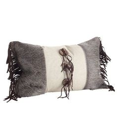 Saro Embellished Cowhide & Suede Fringe Down Filled Throw Pillow (Natural, 20 inches long x 12 inches wide), Brown (Cotton, Applique) Accessories Store, Decorative Accessories, Floor Pillows, Bed Pillows, Lumbar Pillow, Decorative Throw Pillows, Leather, Applique, Cotton