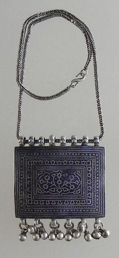 Pakistan | Old silver with blue enamel from Multan.