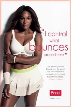 World #1 Serena Williams: Ambassador for Berlei Bras. #Lovely -- <3 Serena's white bra & matching Nike Fall Slam Skirt.