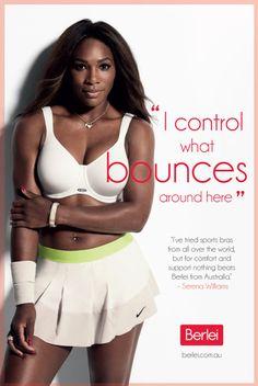 World #1 Serena Williams: Ambassador for Berlei Bras. #Lovely -- <3 Serena's white bra & matching Nike Fall Slam Skirt.