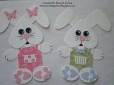 punch out bunnies with overalls - love the butterfly bows on the girl bunny - bjl