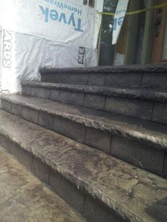 Stamped concrete steps with Sierra's Concrete Arts custom cantilevered formliners.