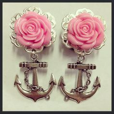 Silver Flower Filigree Anchor Ear Plugs by TeacupRose on Etsy, $25.00