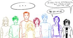 """I love how they're all just like """"what"""" """"that was too easy"""" and Percy's like """"oh no, here we go again"""">>>Hahaha! Percy knows. But why is Percy green? He should be blue! Percy Jackson Fan Art, Percy Jackson Memes, Percy Jackson Books, Percy Jackson Fandom, Solangelo, Percabeth, Hazel And Frank, Oncle Rick, Team Leo"""