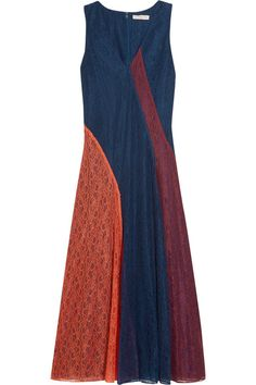 Navy, orange and merlot lace Concealed hook and zip fastening at back  100% polyamide; lining: 100% polyester Dry clean  Designer color: Port/ Red Canyon/ Royal Navy Imported