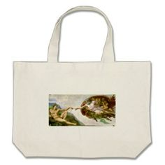 Michelangelo - Creation of Adam Painting Large Tote Bag - accessories accessory gift idea stylish unique custom