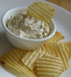 Pickle Dip 8oz cream cheese, room temp 1/2 to 1 C dill pickles, finely diced-I used closer to 1 C 1 Tblsp Worcestershire sauce Dill for garnish if desired -Mix all and serve at room temperature with chips.
