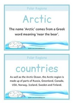 A printable set of 18 A5 fact cards that give fun, interesting and key facts about habitats in the Polar regions. This set is great for activities, discussions, introducing a new topic and for display boards! Visit our TpT store for more information and for other classroom display resources by clicking on the provided links.