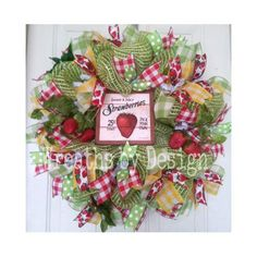 Nothing says summer like strawberries. How cute is this Strawberry Summer Wreath! | CraftOutlet.com Photo Contest