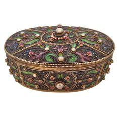 1stdibs | Austrian Jewel Encrusted Enamel Silver Box ca. 1890s
