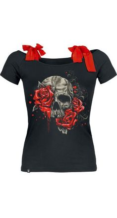 Skull & Roses Top by Full Volume ~ EMP http://www.skullclothing.net