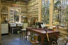 13 Inspiring Ideas for Backyard Sheds  13. Look to rural buildings for wall inspiration. Reclaimed wood, unfinished walls, beadboard and board and batten siding are all wall treatments that lend the right look to potting sheds.