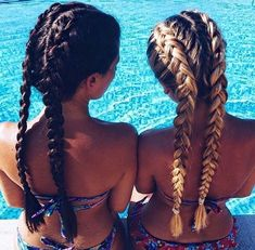 Every brunette needs a blonde best friend... And also someone to French braid their hair... - Looking for Hair Extensions to refresh your hair look instantly? http://www.hairextensionsale.com/?source=autopin-thnew