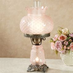 Mindy Hobnail Table Lamp Pastel Pink