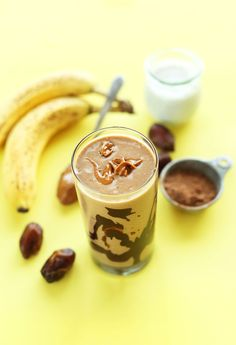 Easy, 5 ingredient chocolate peanut butter banana shake with a thick, creamy texture! A perfectly healthy vegan breakfast, snack, or dessert.