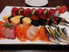 Fujiyama Sushi - Oviedo, FL, United States. Lover roll, tamago sushi, salmon roe sushi, eel sushi, yellowtail sashimi, scallop sashimi, mackerel sashimi! Soooo delicious! Sashimi, Oviedo Florida, Salmon, City, Ethnic Recipes, Food, Meals, Atlantic Salmon, Eten