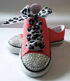 SALE:  Swarovski Crystal Embellished Hot Pink Converse Sneakers Size Toddler 9 - LoveItSoMuch.com